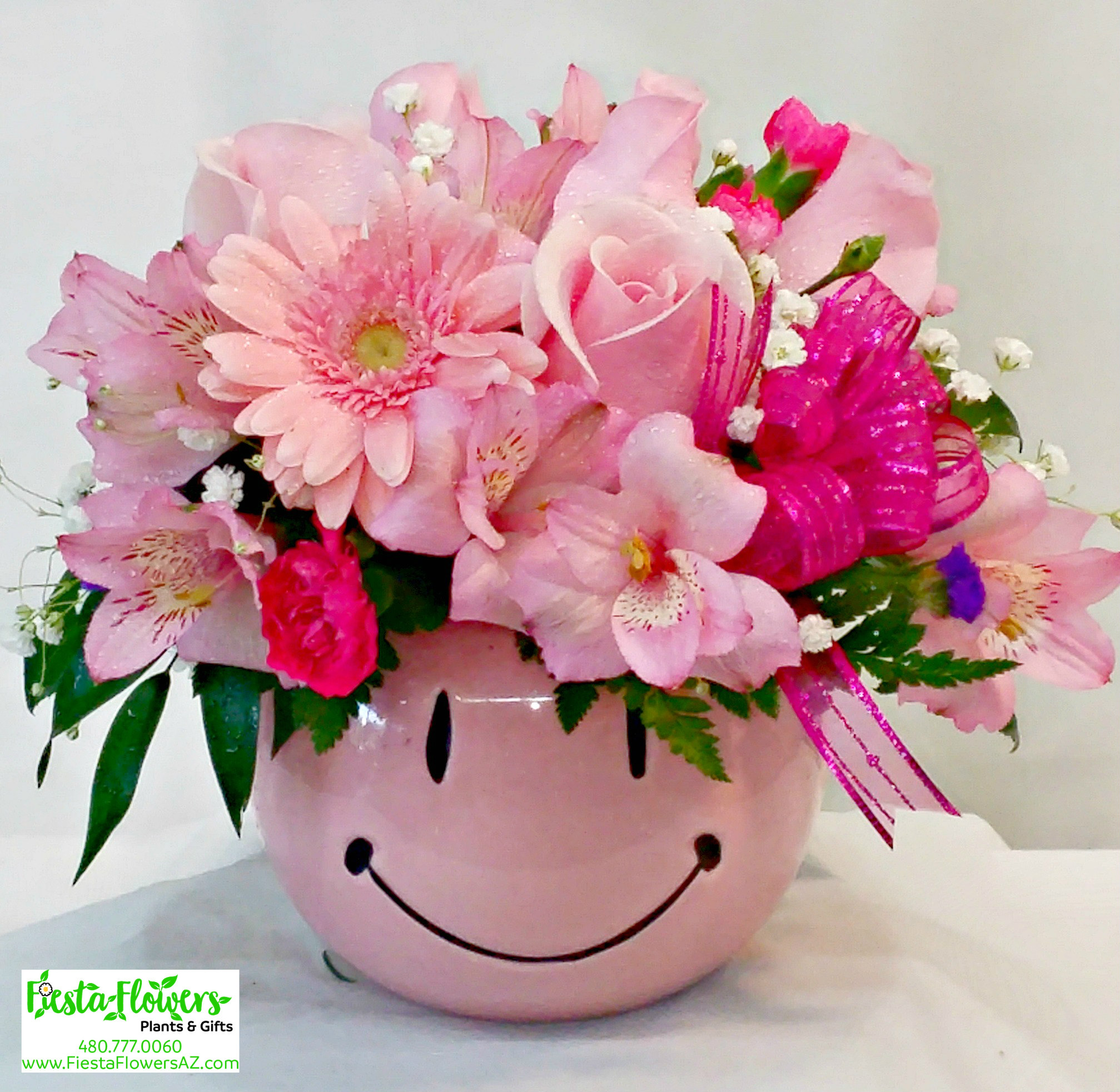 Princess Pink Smiley Same Day Delivery Fiesta Flowers Plants