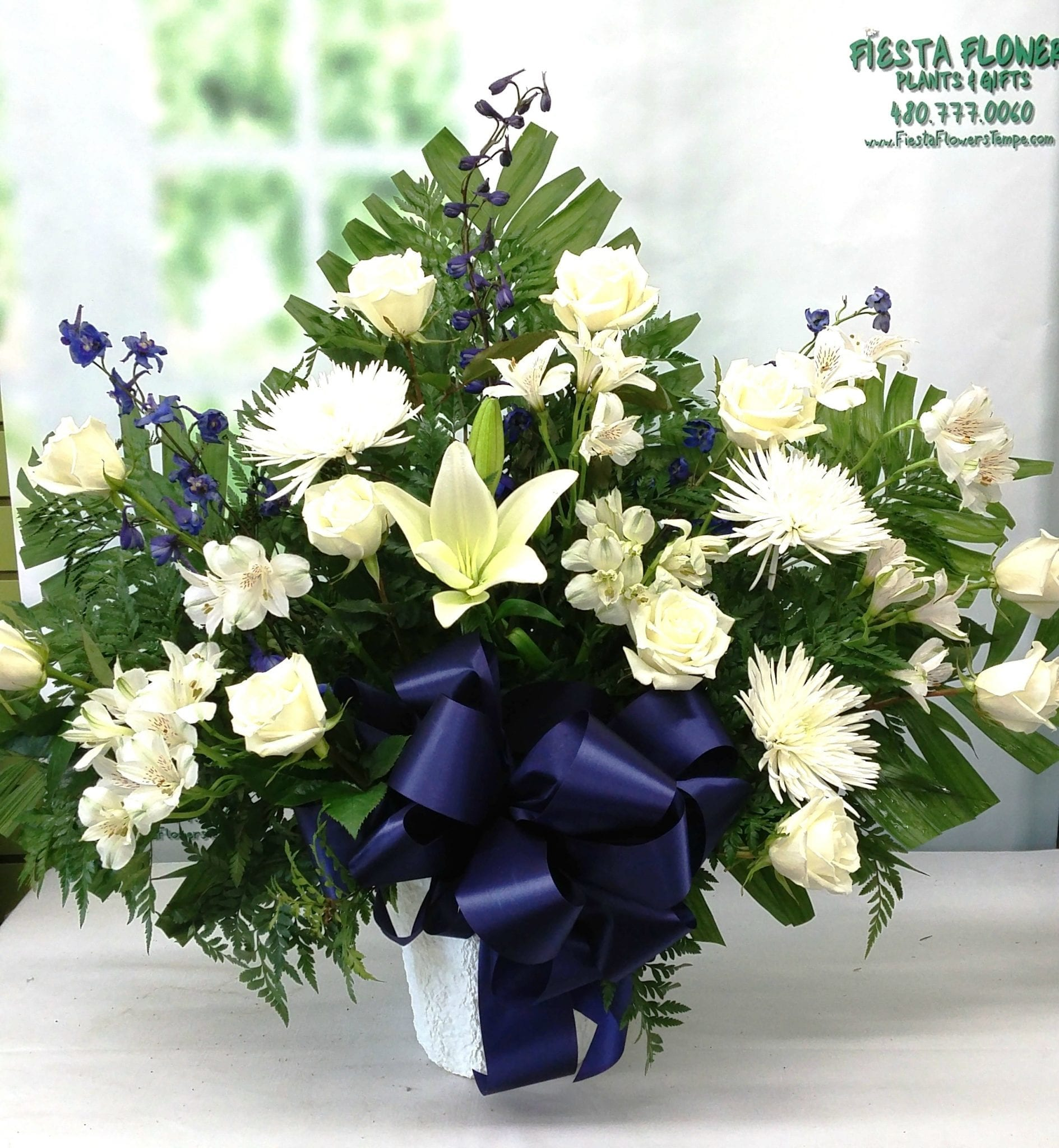 SAME DAY DELIVERY Blue and White Eternity Basket Fiesta Flowers Plants &amp