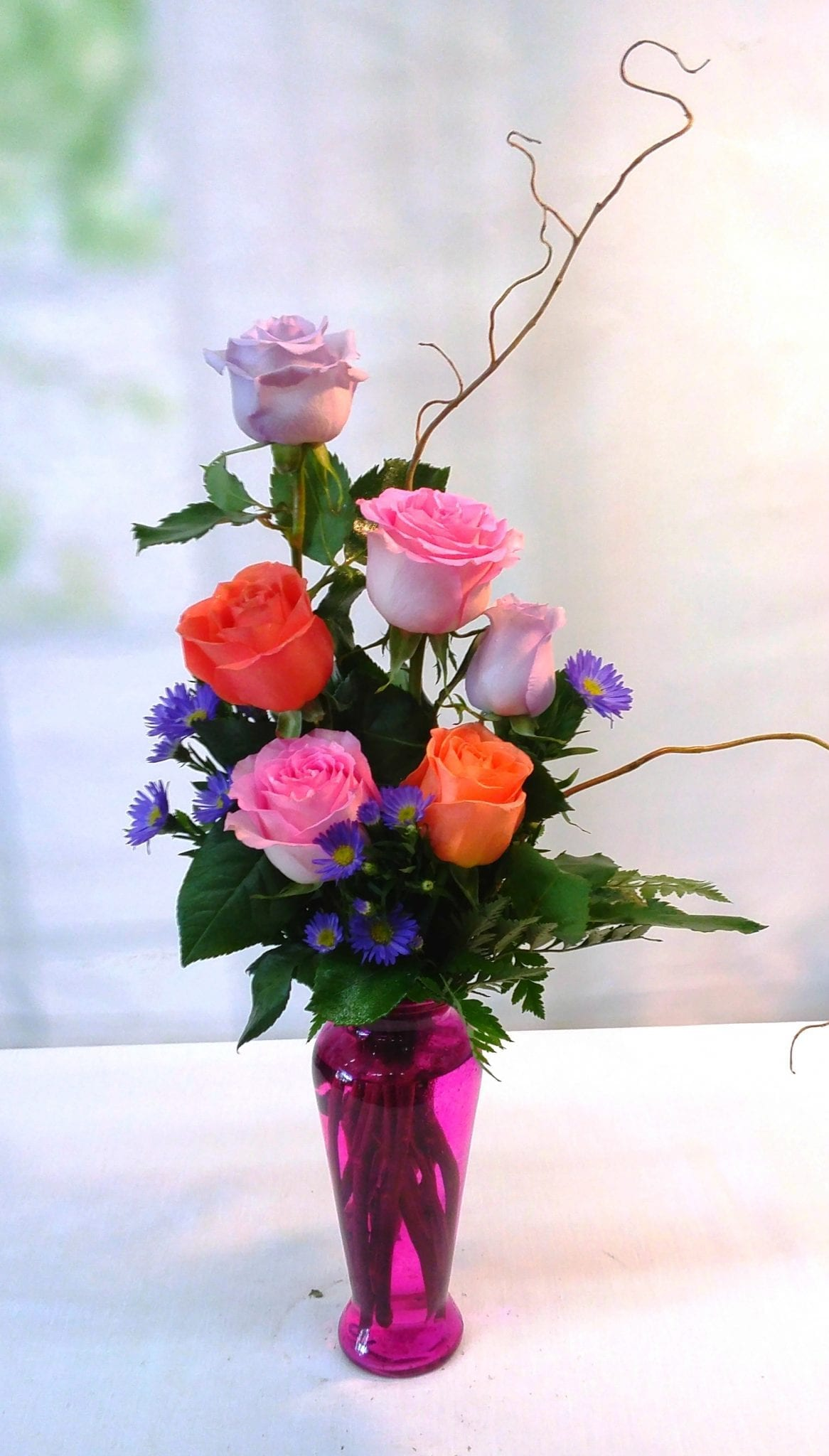 6 Roses In A Glass Vase Colorful And Contemporary
