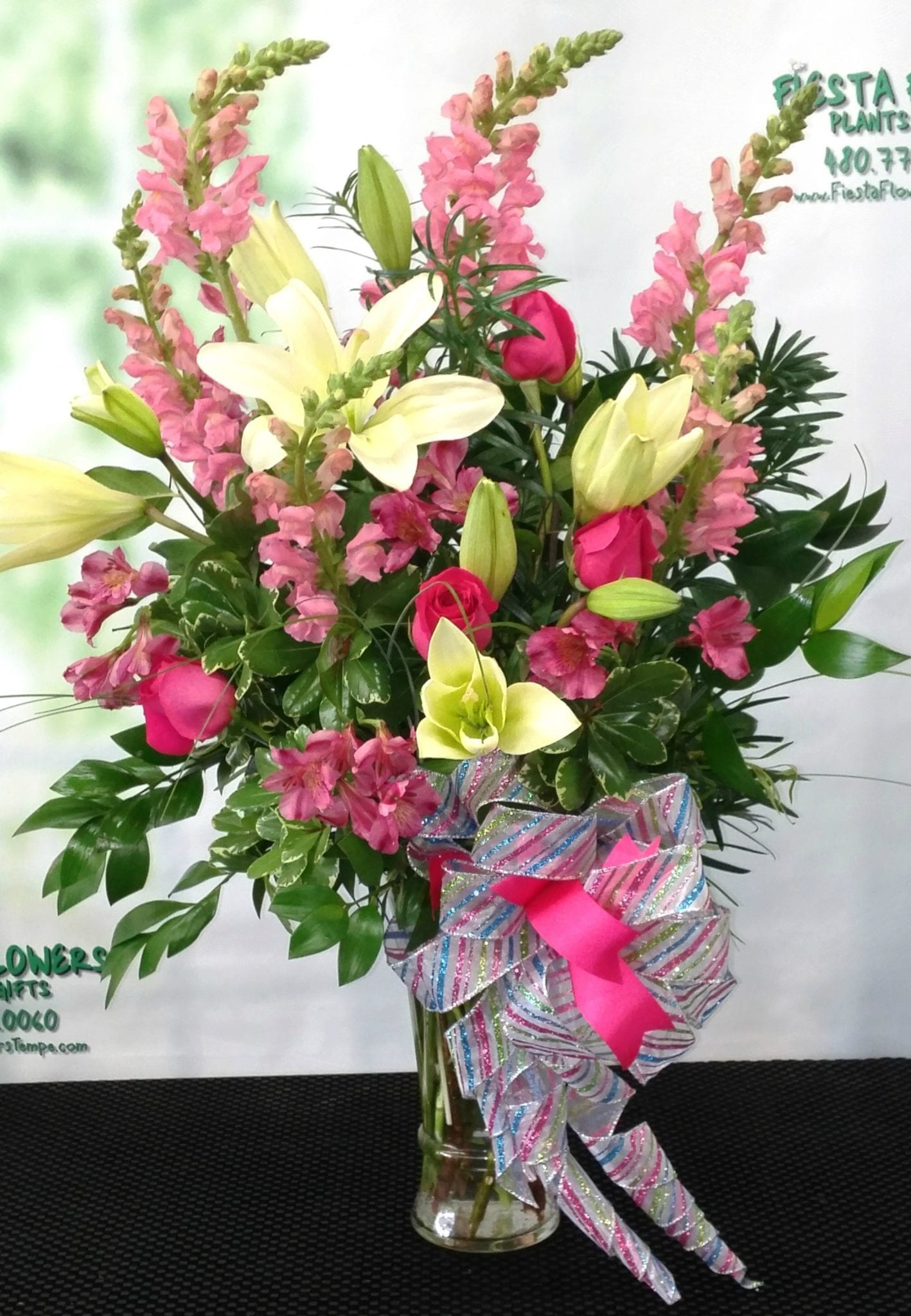 SAME DAY DELIVERY Fiesta Celebration Bouquet In Pink And White