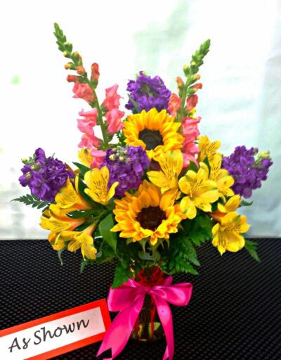 NEXT DAY DELIVERY Fiesta Garden Bouquet with Sunflowers (V-1041)