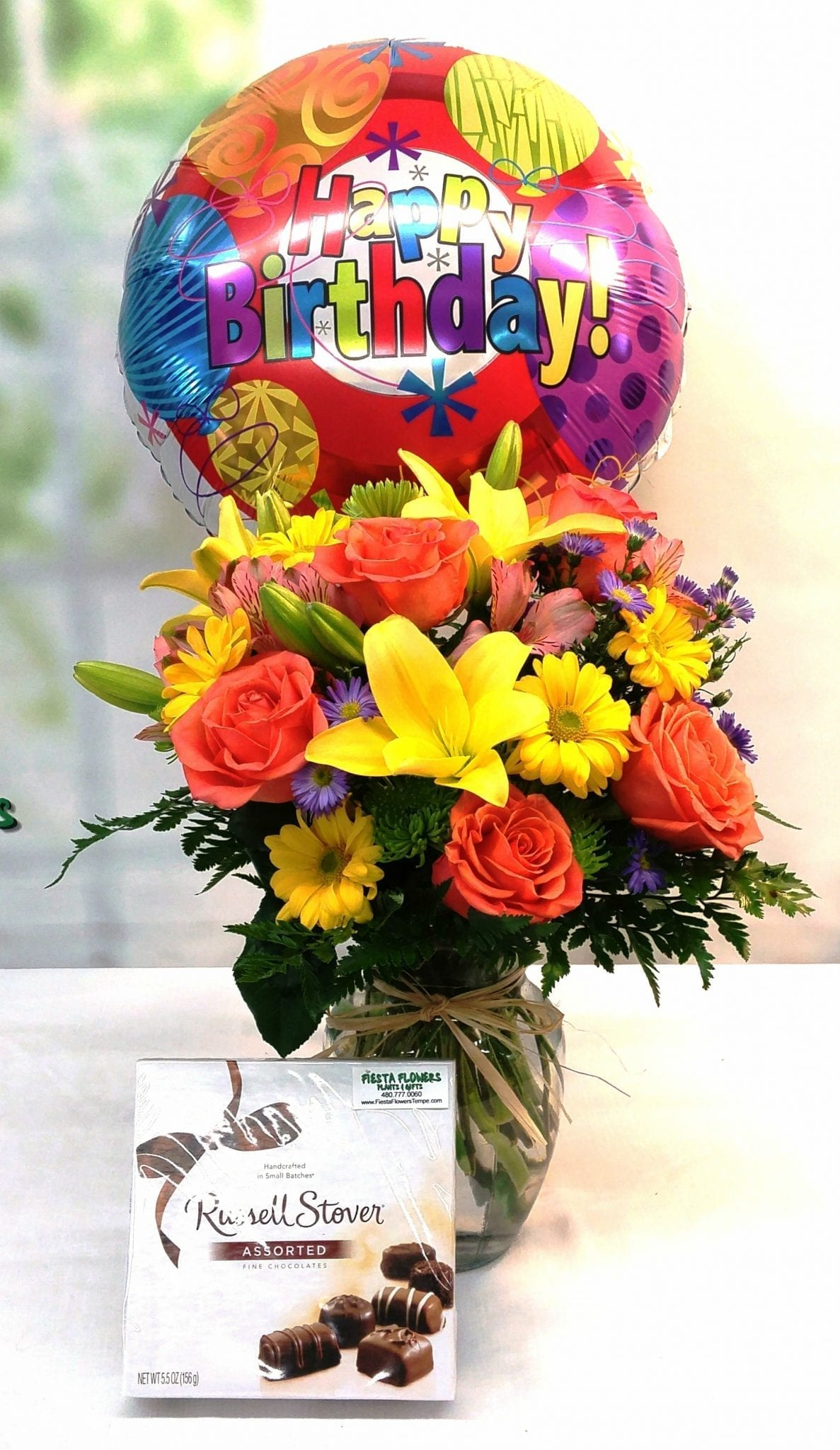 SAME DAY DELIVERY Happy Birthday Premium Bundle Fiesta Flowers Plants &