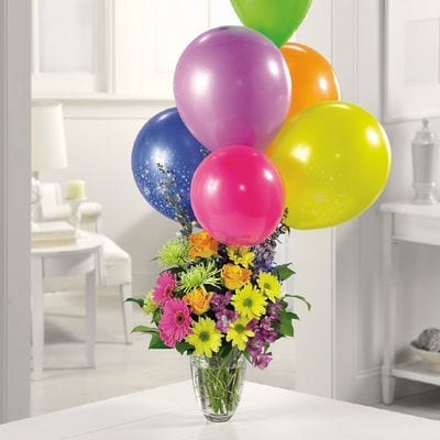 Here's The Party Flower Arrangement with Balloons