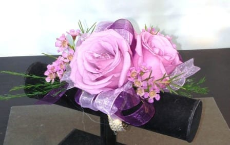 Lavender Rose Corsage With Double Ribbon And Diamond Wristlet Cb
