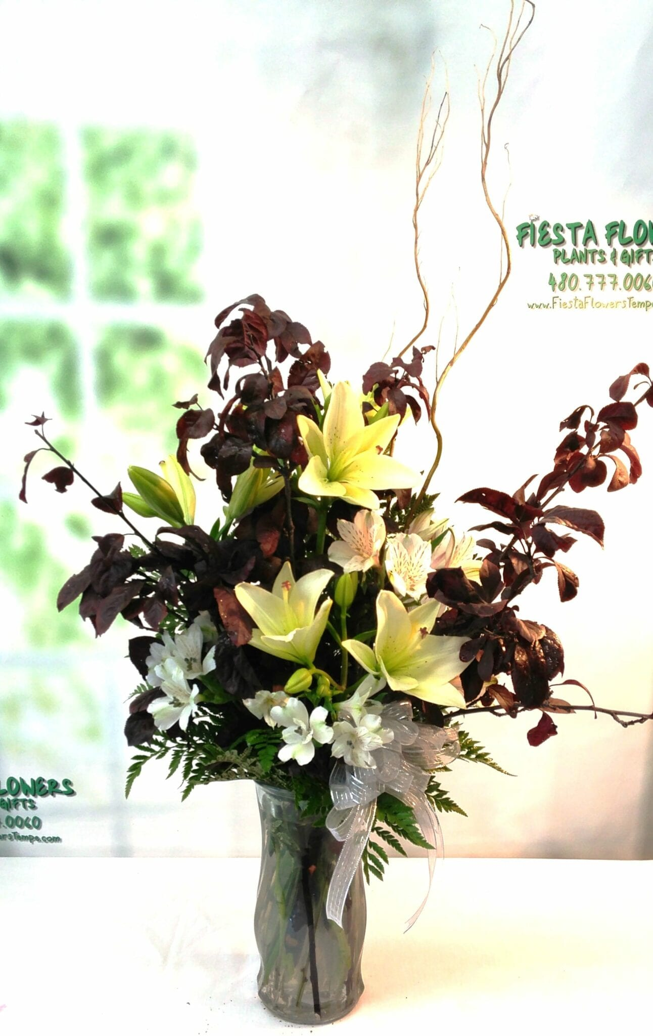 SAME DAY DELIVERY Lily Tribute with Smokebush