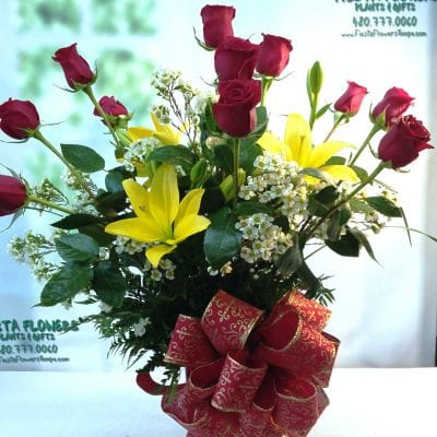 SAME DAY DELIVERY Luxury with Yellow Lilies & Dozen Roses