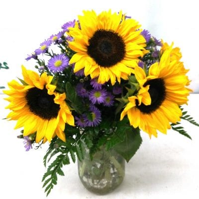 SAME DAY DELIVERY Mason Jar Sunflowers