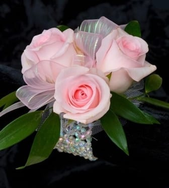 Pink Rose Corsage with Tulle and Wristlet (CB-714)