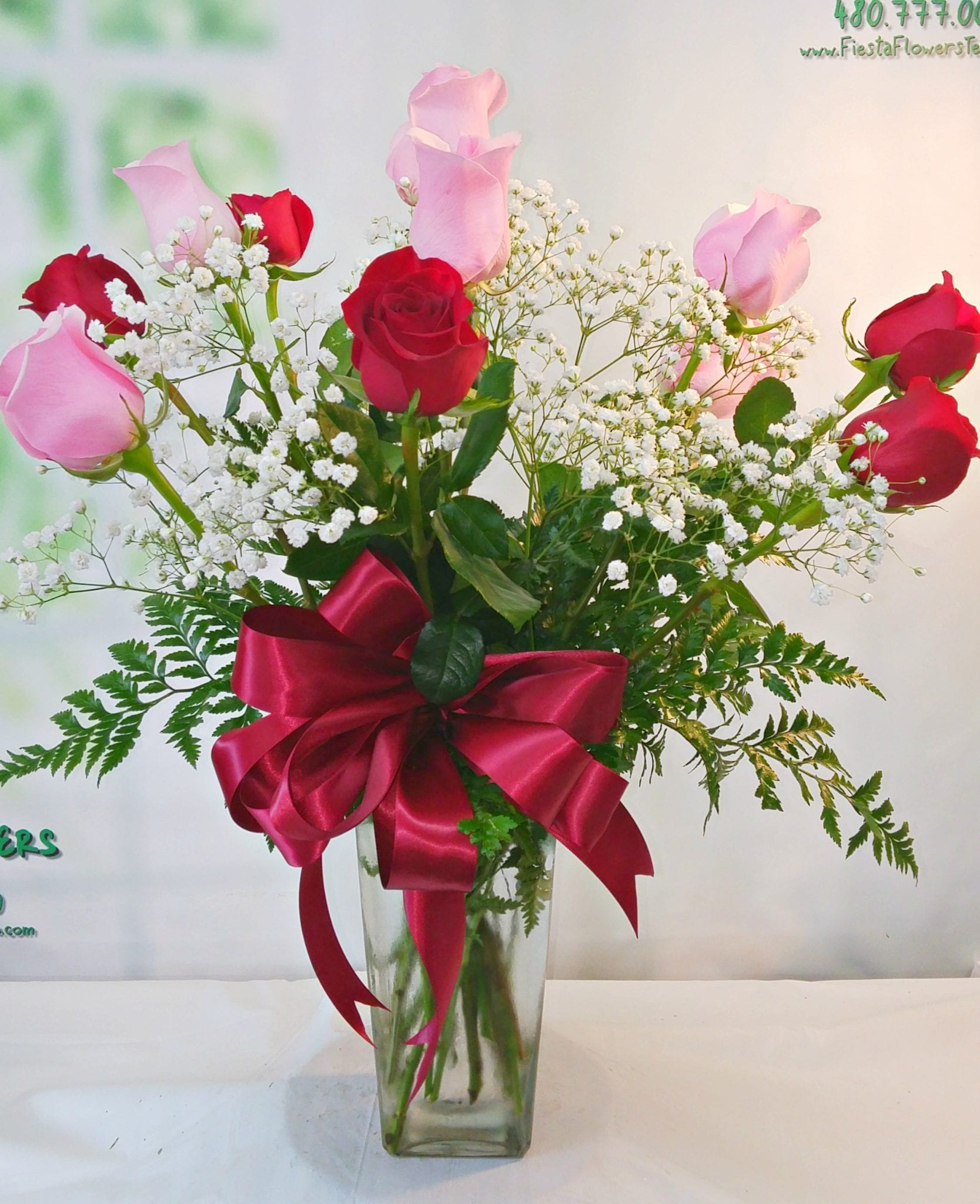 Pink and Red Dozen Roses