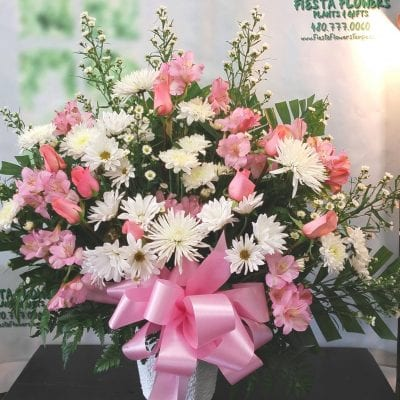 SAME DAY DELIVERY Pink and White Tribute