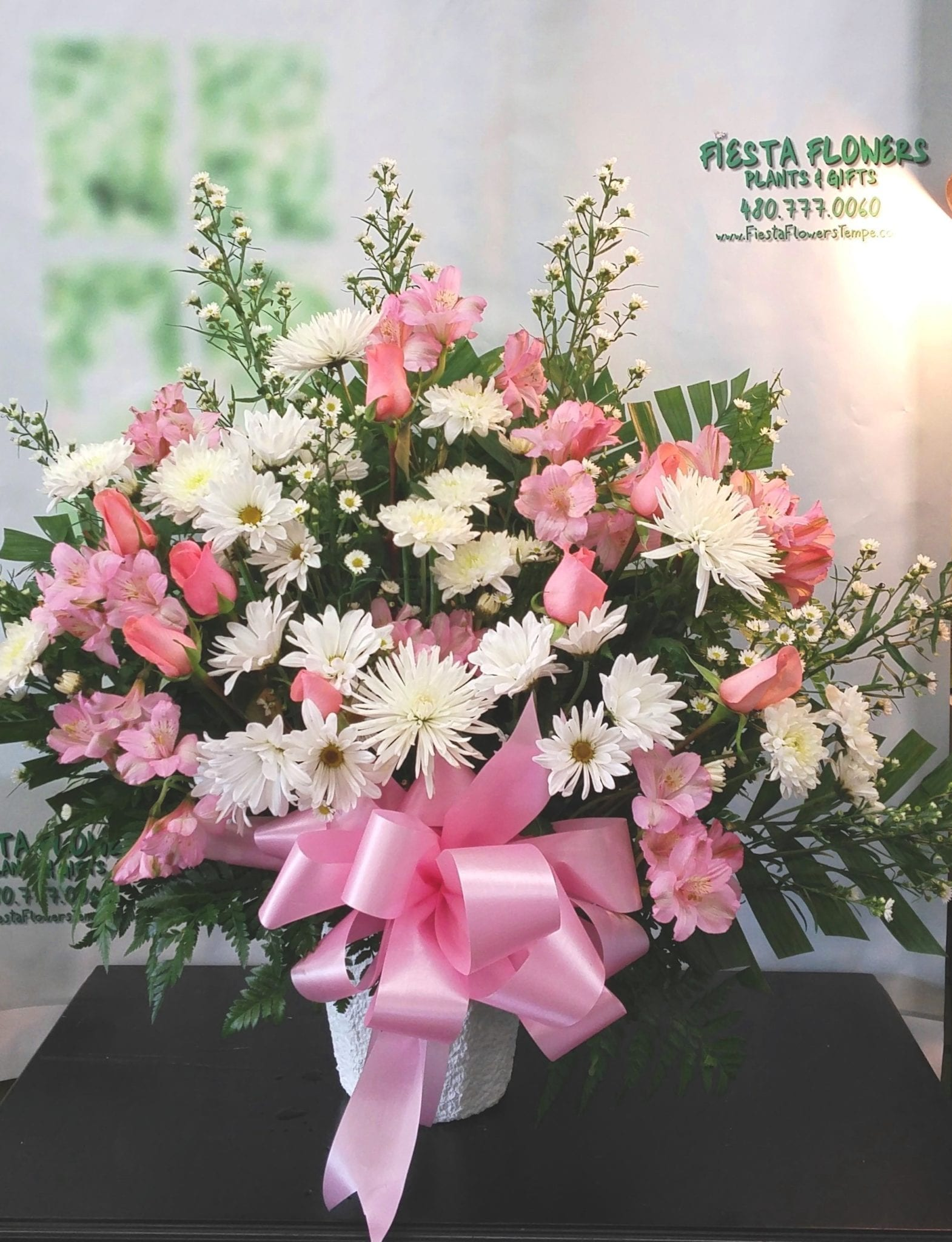 SAME DAY DELIVERY Pink and White Tribute Fiesta Flowers Plants & Gifts