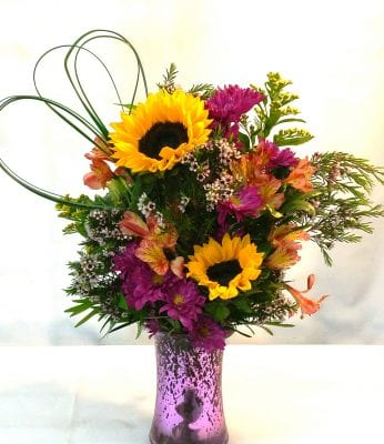 SAME DAY DELIVERY Purple Lover's Sunflower Romance (V-1087)