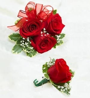 Red Corsage and Bout Combo (CB-733)