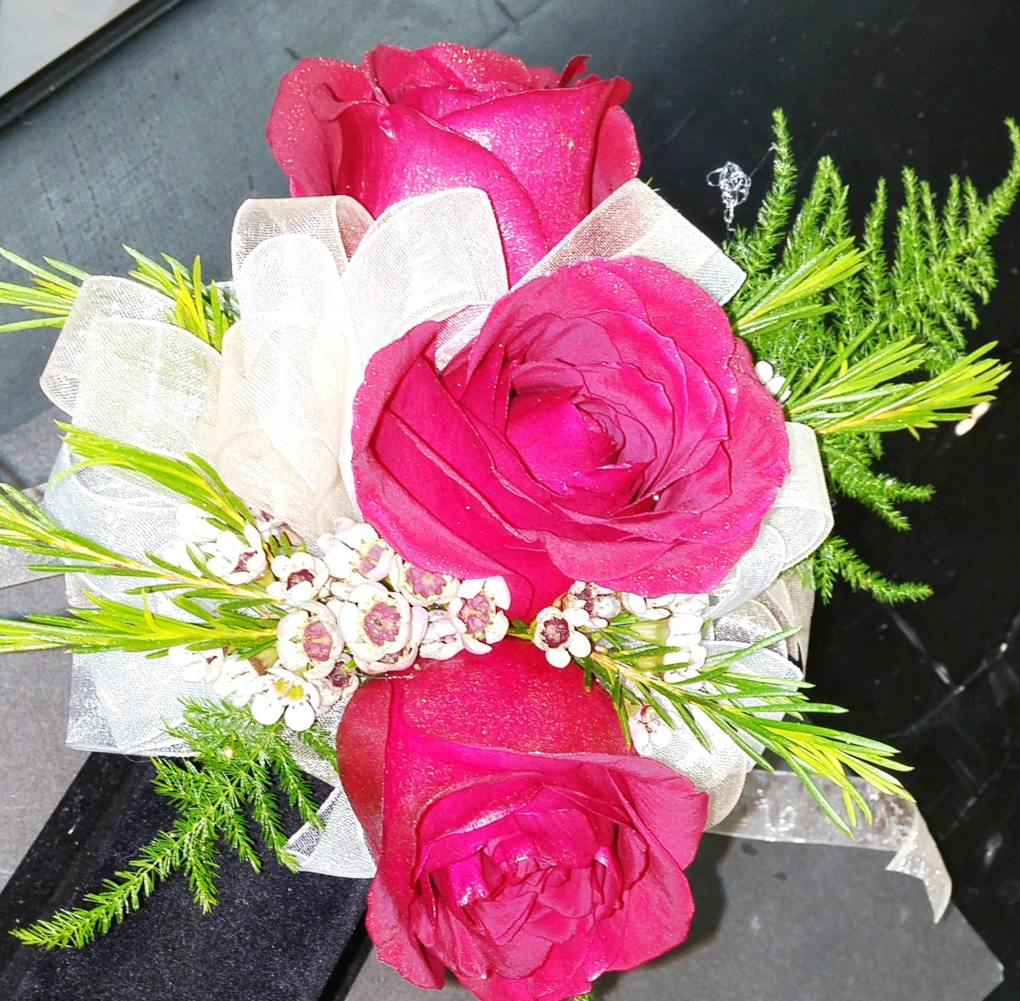 Red Rose with White Ribbon Corsage (CB-718)