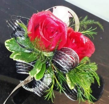 Red & White Rose Corsage with Glitter (CB-717)