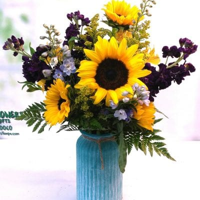 SAME DAY DELIVERY Sunflower & Stock Bouquet (V-1110)