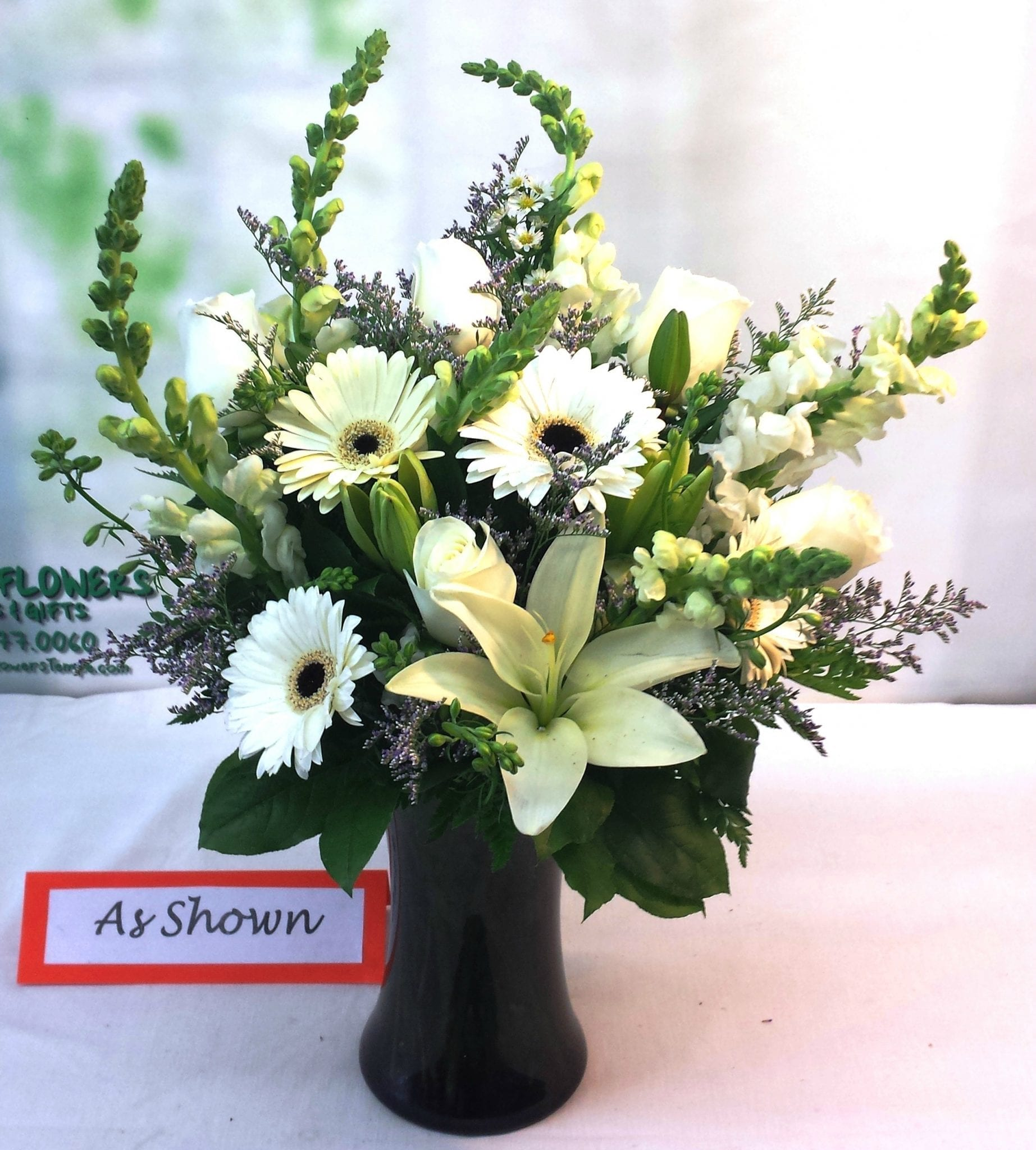SAME DAY DELIVERY Table Side Sympathy Arrangement in White