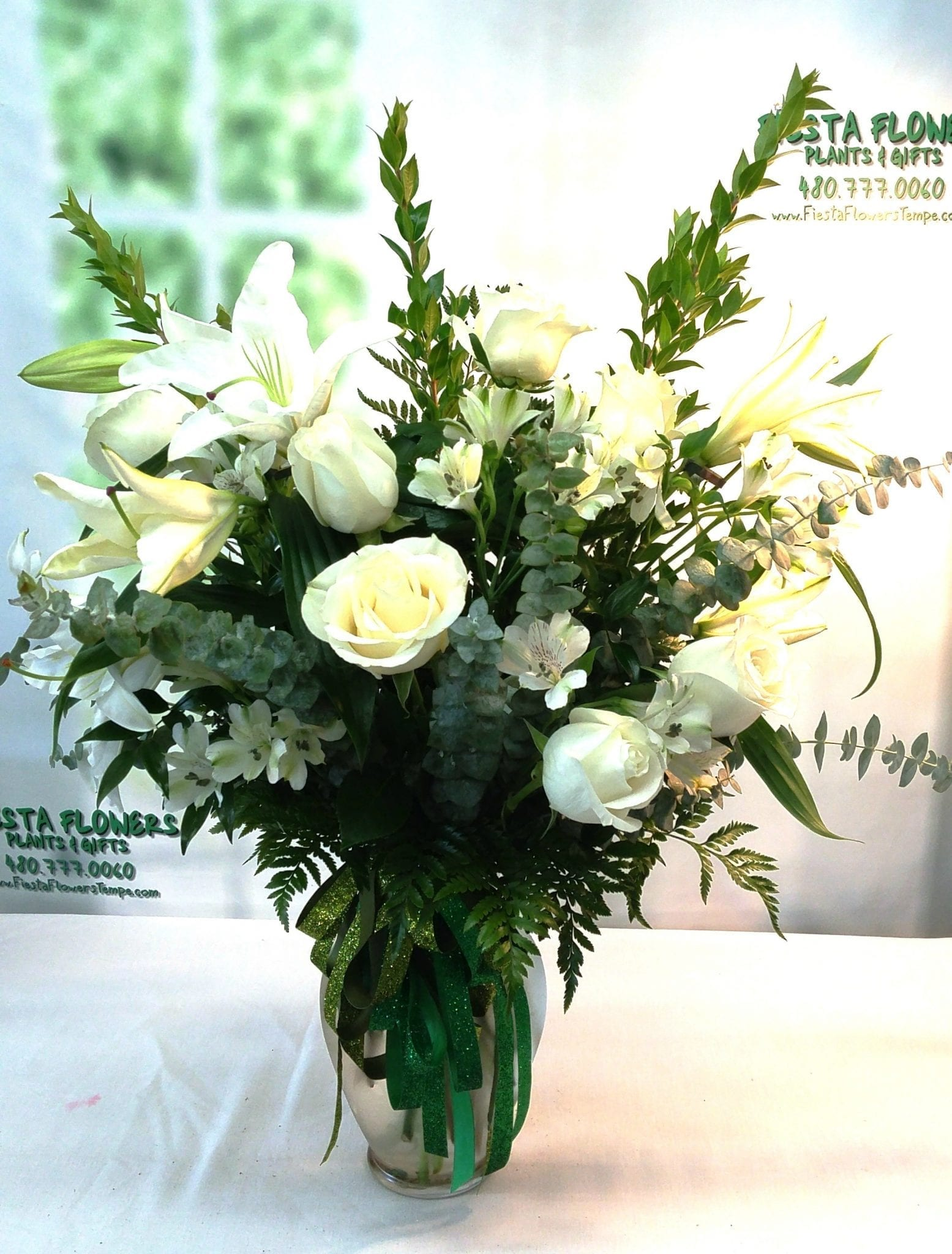 Same Day Delivery Tall White Tribute 1 Fiesta Flowers Plants Gifts