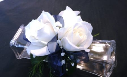 White Rose Corsage with Navy Ribbon (CB-735)