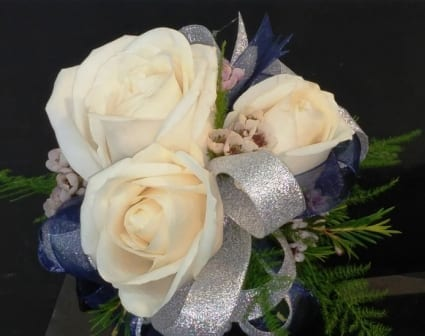 White Rose Corsage with Navy and Silver Bow (CB-728)