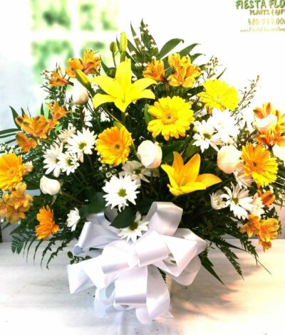 NEXT DAY DELIVERY Yellow Lily and Gerbera Daisy Tribute (FB-507)