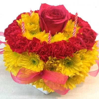 SAME DAY DELIVERY Yellow & Hot Pink Flower Cake