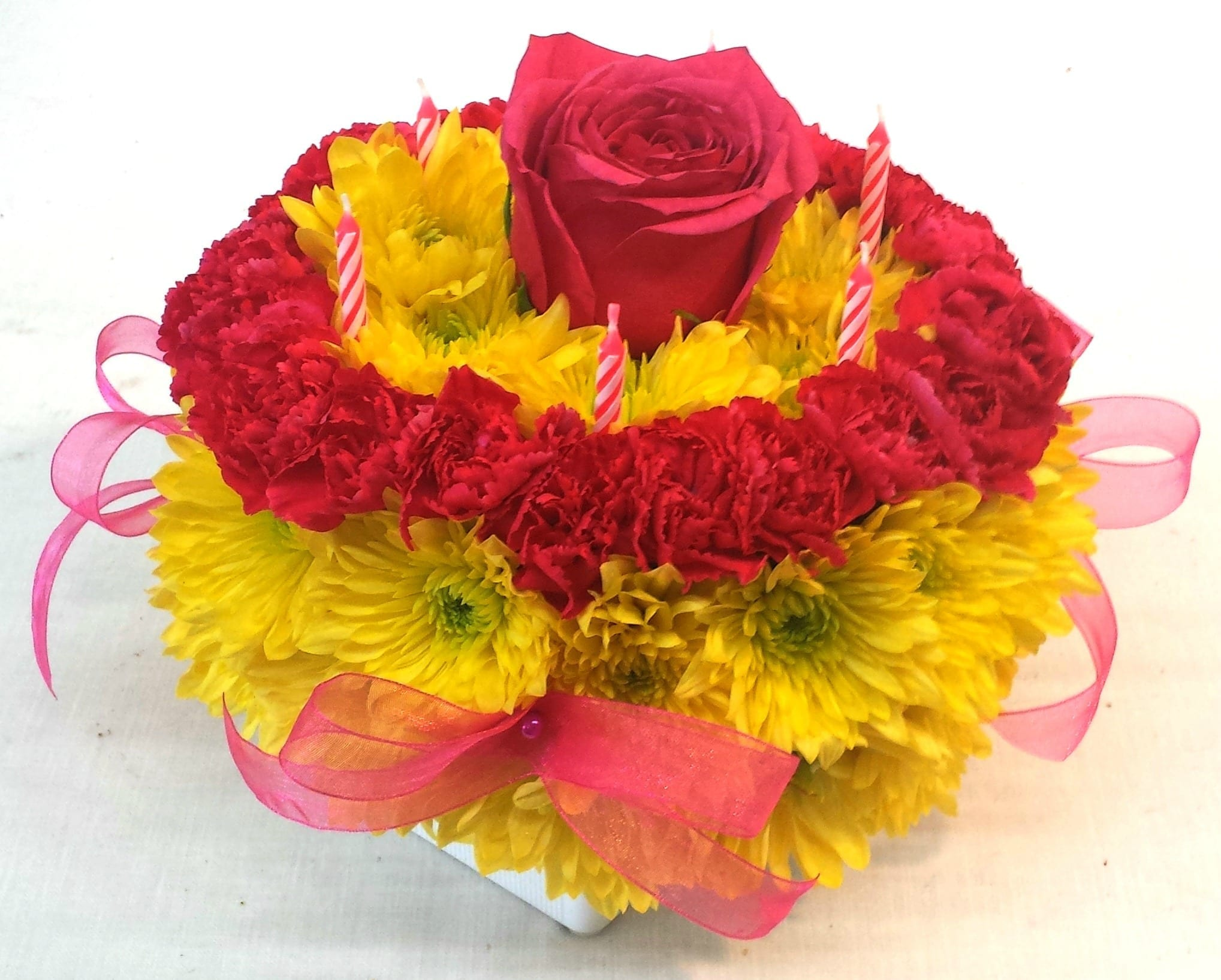 Same Day Delivery Yellow Hot Pink Flower Cake Fiesta Flowers