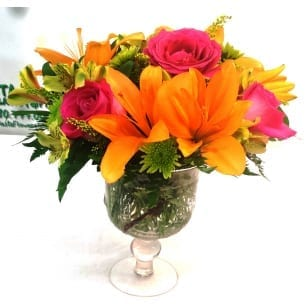 SAME DAY DELIVERY Orange Sorbet Bouquet in Fluer De Lis Goblet