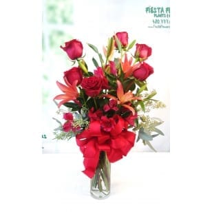 SAME DAY DELIVERY Red Lovers Avant Garde with Lily
