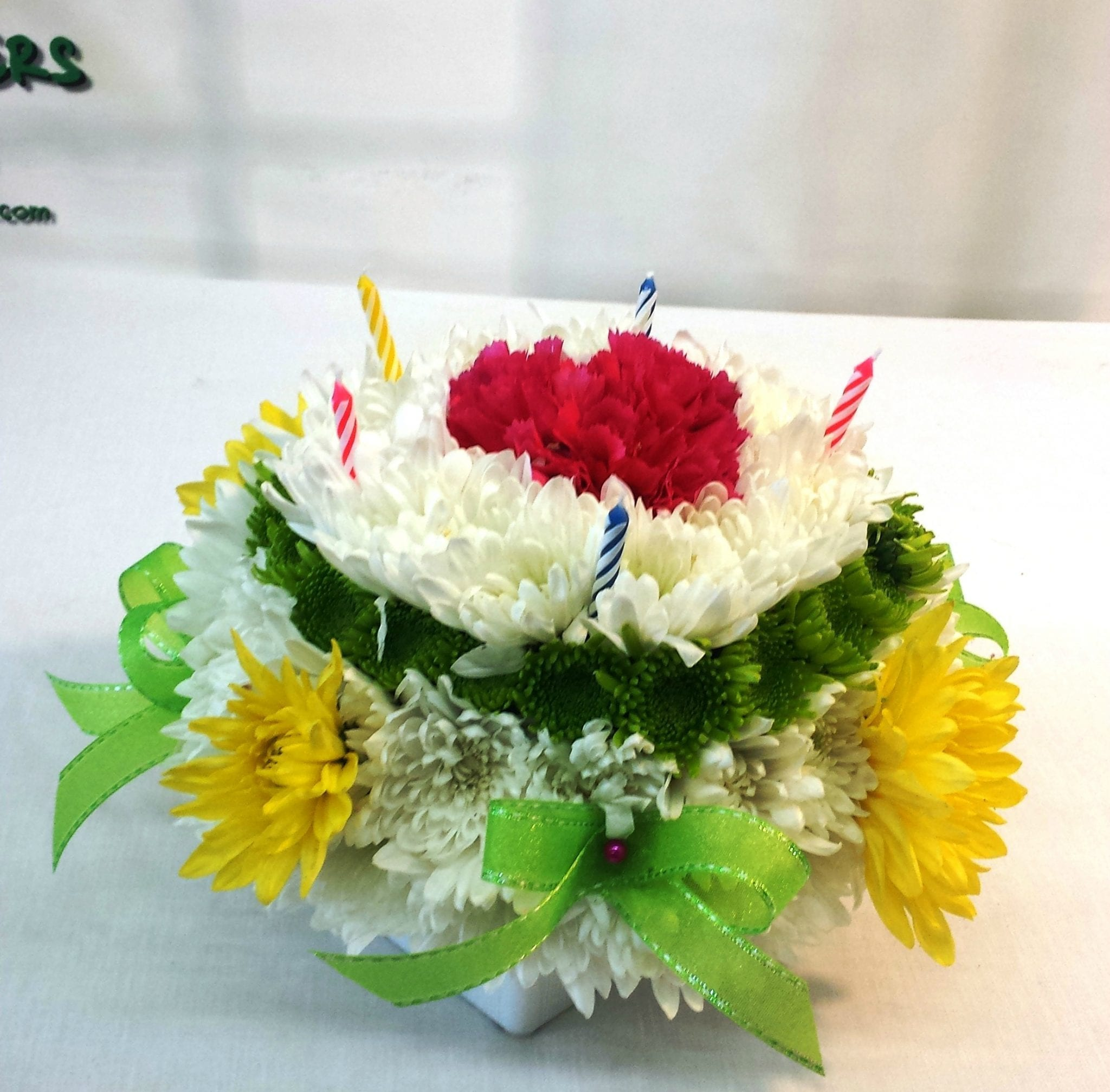 Same Day Delivery Birthday Flower Cake Green And Yellow Fiesta