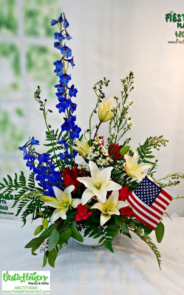 Memorial Tribute In Red White And Blue Fiesta Flowers