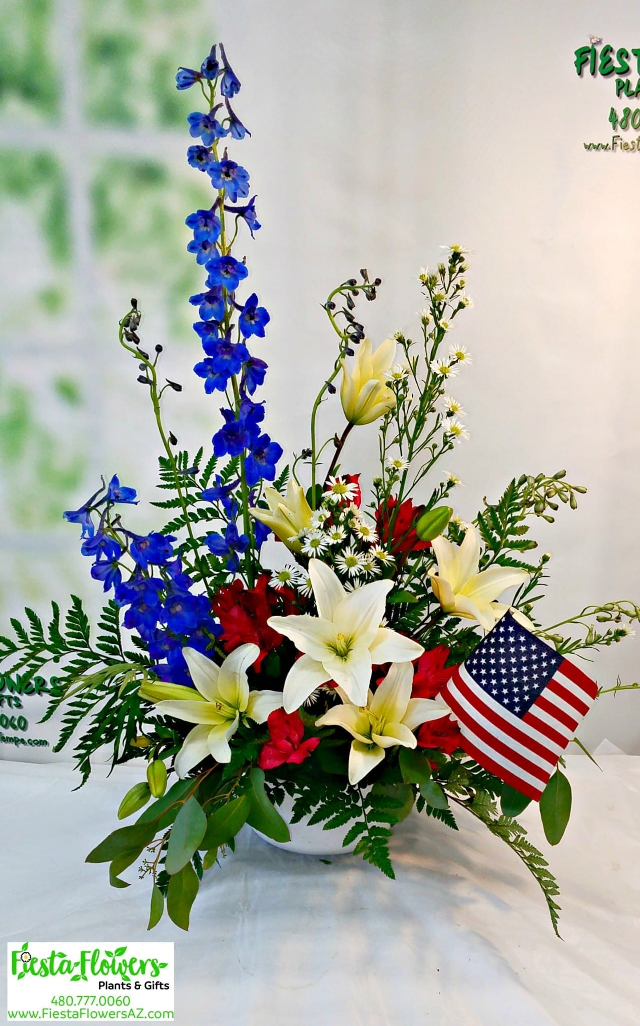 Memorial Tribute In Red White And Blue Fiesta Flowers Plants Gifts
