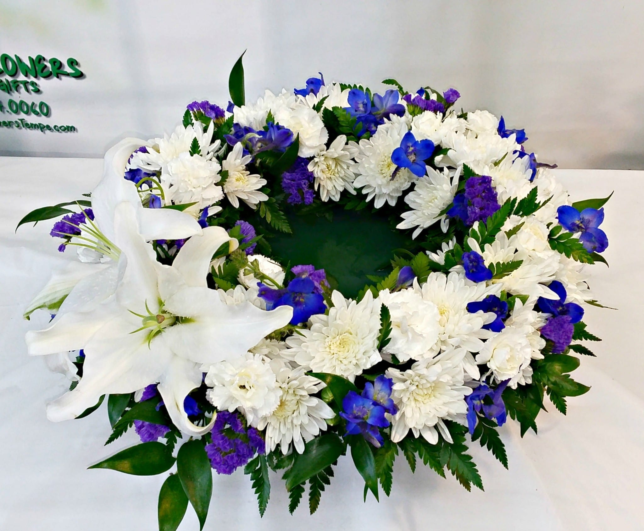Blue And White Elegance Wreath For Urn Flowers If 832 Fiesta