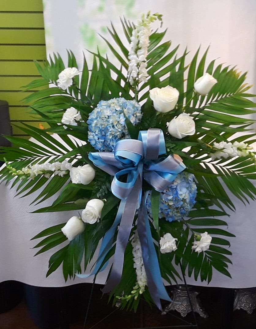 Deepest Sympathies Blue And White Standing Spray Fs 402 Fiesta