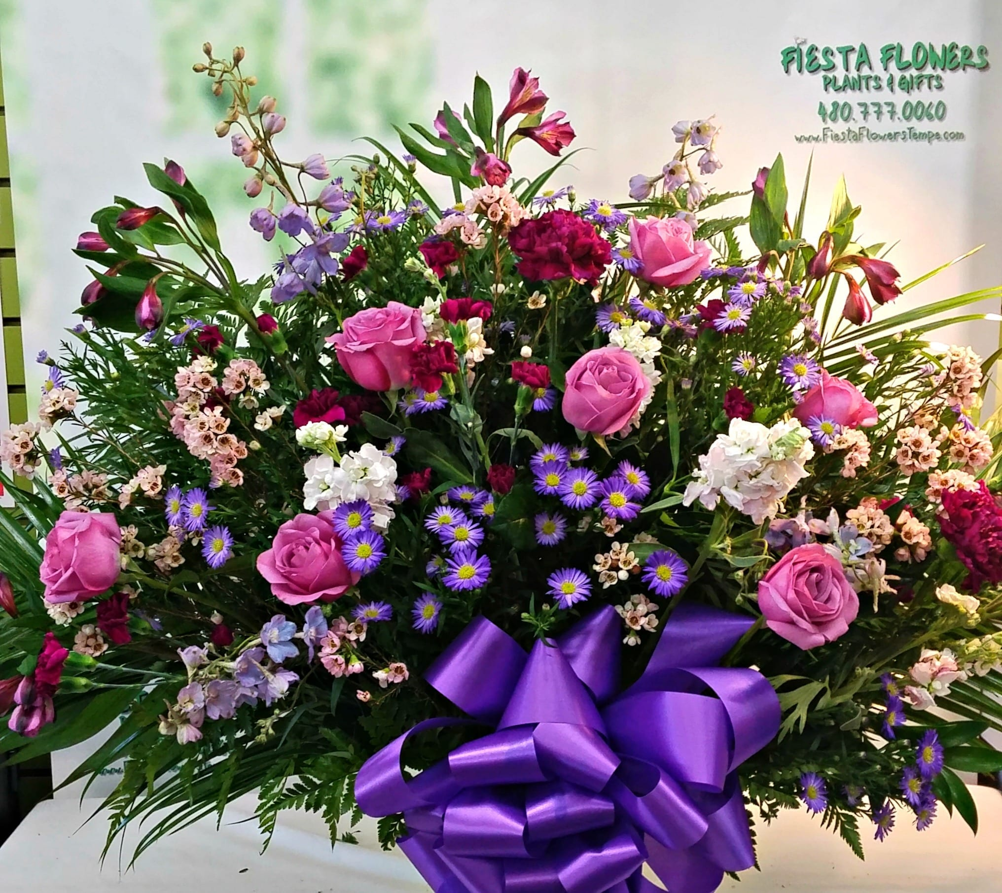 Sympathy basket funeral basket delivery in tempe chandler mesa purple tribute fb 513 izmirmasajfo Image collections