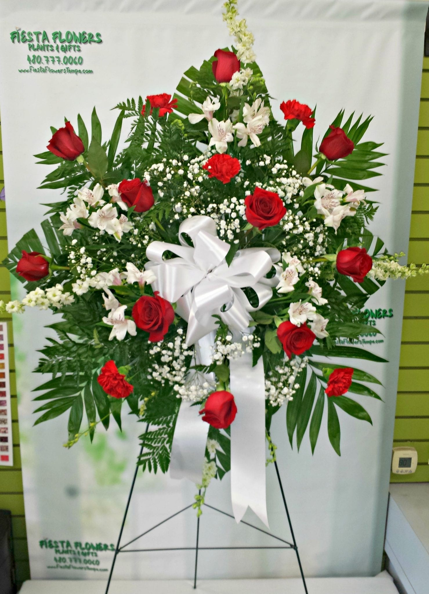 Red And White Sympathy Tribute Fs 405 Fiesta Flowers Plants Gifts