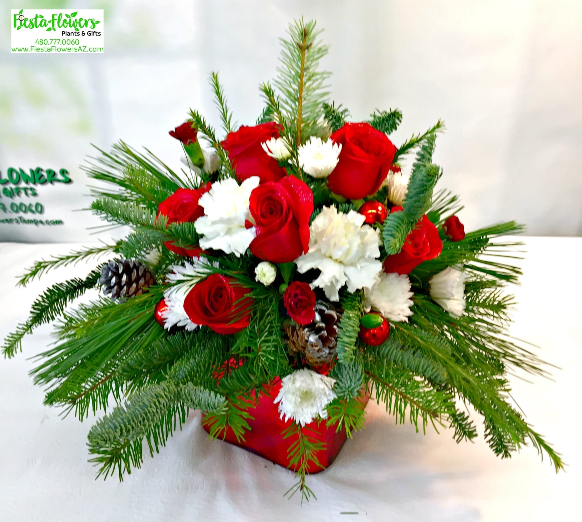 Merry Christmas Cube [H-7029] - Fiesta Flowers Plants & Gifts